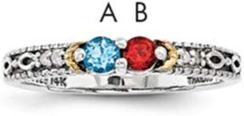 Sterling Silver /& 14k Two-stone and Diamond Mothers Ring Semi-Mount Size 8 Length Width 3
