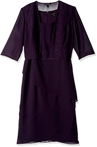 Le Bos Women's Trim Tiered Hem Glitter Band Jacket Dress, Eggplant, (Tiered Trim)
