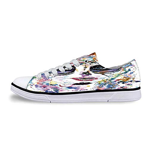 Sugar Skull Decor Soft Low Top Canvas Shoes,Halloween Girl with Sugar Skull Makeup Watercolor Painting Style Creepy Decorative for Women,US 7.5]()