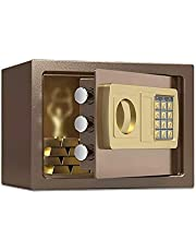 MDHDGAO Digital Safe Box ,Large Capacity Safety Electronic Security Steel Money Cash Home Office, with Full-Anchoring Design Security Lock Box Solid Steel Construction (Color : Brown)