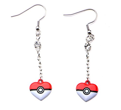 Pokemon Womens Pokemon Poke Ball Heart Shape Dangle Earrings Stainless Steel (Mens Squirtle Costume)