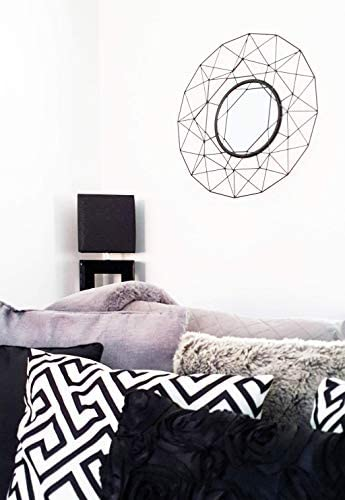 Cherish Home Matt Black Geometric Round Contemporary Modern Wire Wall Mirror