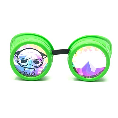 (3D Rainbow Prism Kaleidoscope Rave Glasses, Diffraction Steampunk Goggles, neon Green, Grumpy Cute)