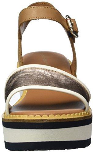 Tommy Hilfiger K1285atya Hg 1z, Sandalias con Cuña para Mujer Beige (Cognac 606)