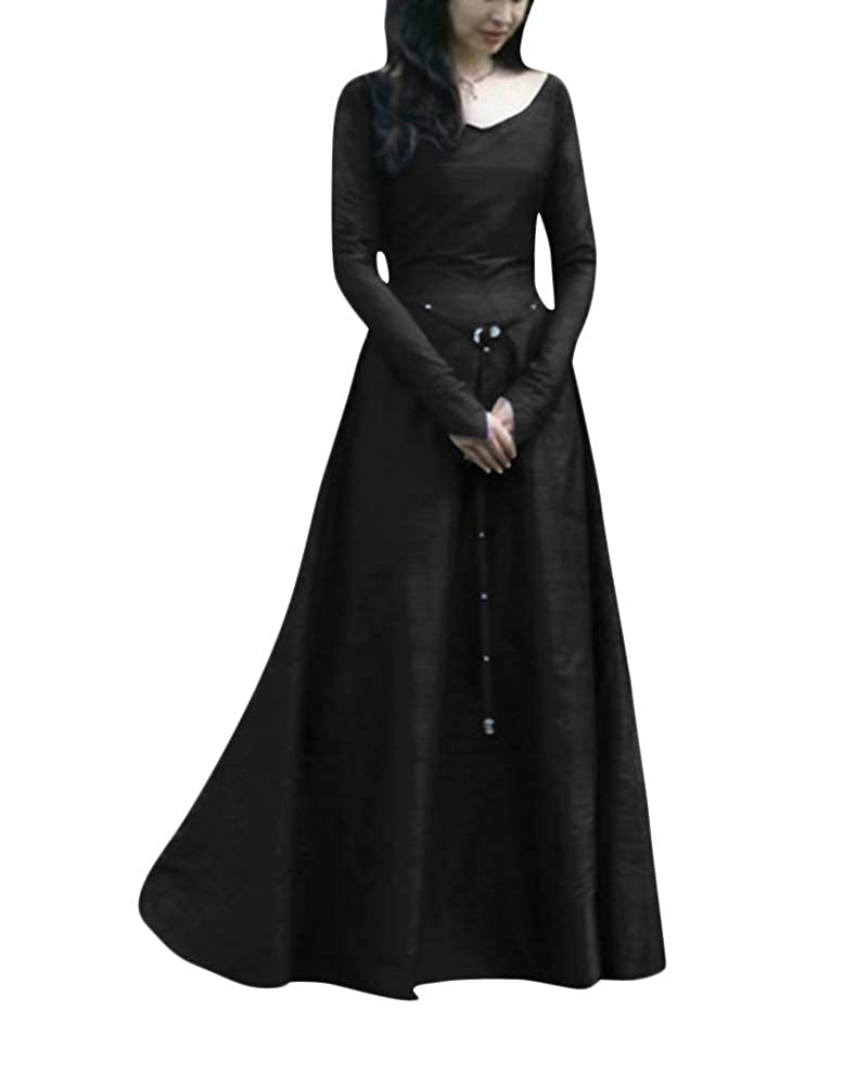 Disfraz De V Cuello En V Medieval para Mujer Vestido Largo Manga Larga Vintage: Amazon.es: Ropa y accesorios