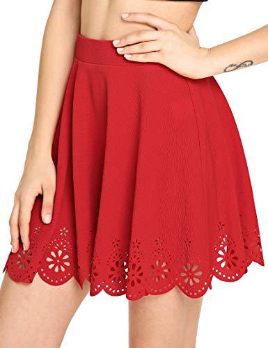 SheIn Women's Basic Solid Flared Mini Skater Skirt Small Red]()