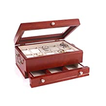 American Chest Ten Slot Watch Chest with Valet and Glass Top, Solid Cherry Hardwood