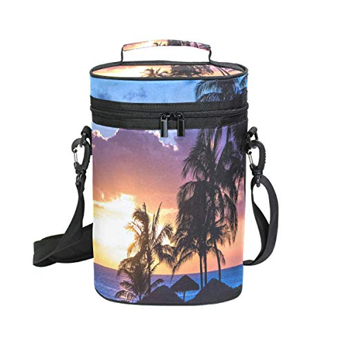 Wine Totes Travel Carrier Cooler Bag with Shoulder Strap Beauty Palm Trees Sunset 2 Bottle Picnic Cooler Bag with Insulated Neoprene Leakproof Liner,Water Drinks Beer Lunch Bag for Grocery,Camping
