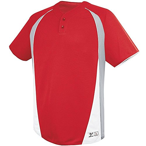 (High Five Ace Two Button Jersey - Adult,Scarlet/Silver Grey/White,Small)