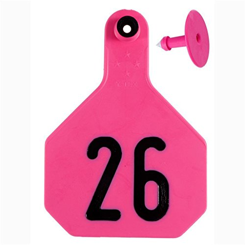 Y-Tex 4 Star Large Cattle Ear Tags Pink Numbered (Y-tex Tags)