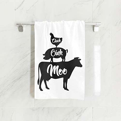 (CustomART Farm Anilmals Silhouette Chicken Pig Cow Towel Hand Towels Washcloths for Bathroom Spa Gym Sports)