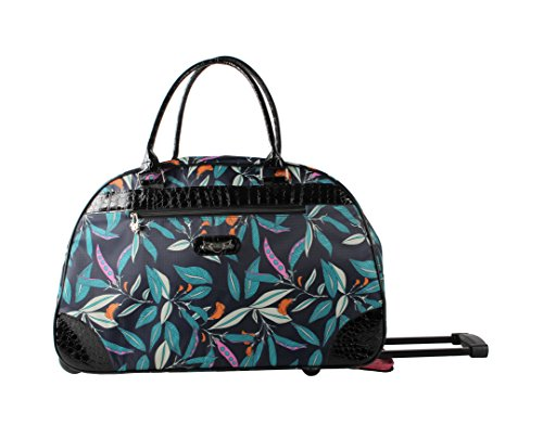 Kathy Van Zeeland Luggage 22 Inch Rolling Carry On Printed Wheeled Duffel (One Size, Midnight -