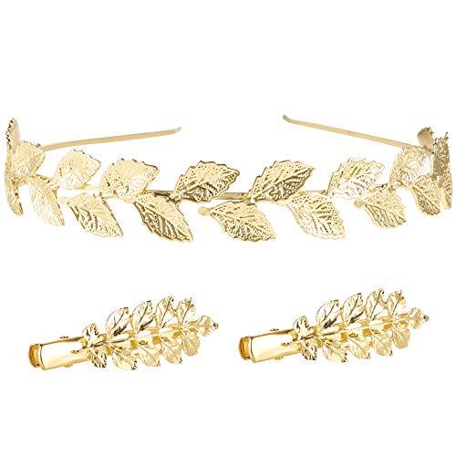 - Goddess Leaf Branch Bridal Tiaras Hair Crown Head Dress Boho Hairband Wedding Headpiece Costume Accessories with Hair Clips (B)