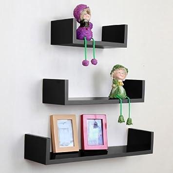 Amazoncom TANBURO Set of 3 Floating U Shelves Wall shelf Book CD