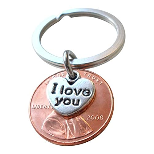 9th anniversary gift for husband amazon i love you heart charm layered over 2008 us one cent penny keychain 10 year anniversary gift couples keychain negle Gallery