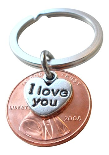 - I Love You Heart Charm Layered Over 2008 Penny Keychain, 11 year Anniversary Gift, Couples Keychain