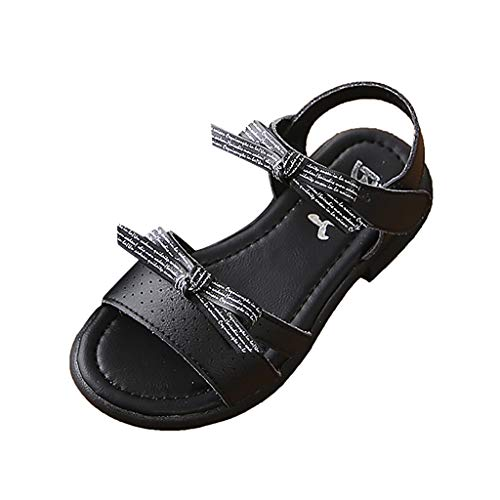 (Tantisy ♣↭♣ Baby Shoes Girls Kids Bow Single Shoes Outdoor Sandals Beach Sandals Sneaker Princess Shoes Soft Shoes Black)