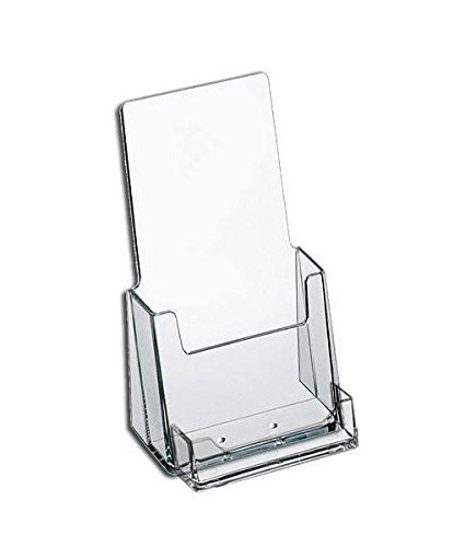 Source One Premium Counter Top Acrylic Clear Brochure Holder with Business Card Holder 4 Inch Wide (S1-CT-TRIWBC) (60 Pack)