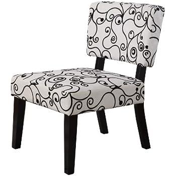 Amazon.com: Linon Home Decor Taylor Accent Chair, White Black ...