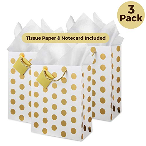 Gold Gift Bags, Tissue Paper: (Medium, Set of 3), Thick Paper, Braided Handles, Note Card, for Baby Shower Gift, Welcome Favor Bags, Wedding Bridal Party, Birthday ()