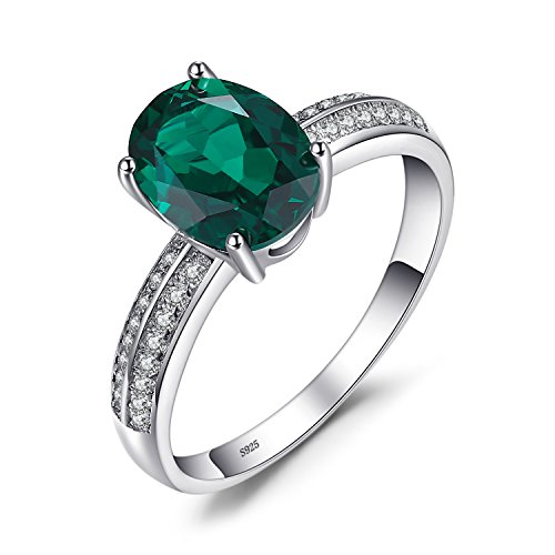 JewleryPalace 1.4ct Simulated Green Nano Russian Emerald Ring 925 Sterling...