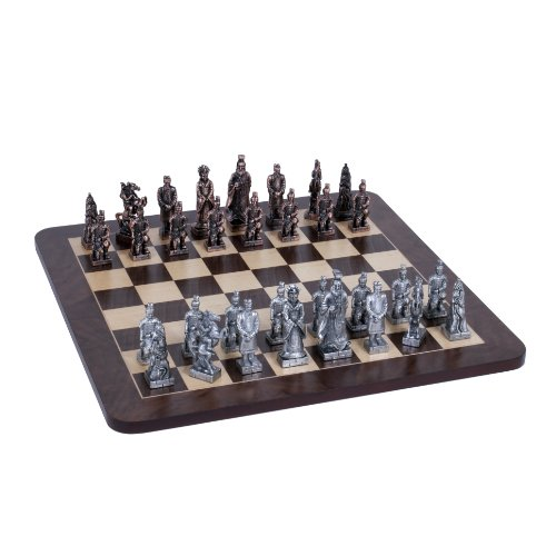 Wood Expressions WE Games Chinese Qin Chess Set - Pewter Pieces & Walnut Root Board 16 in. ()