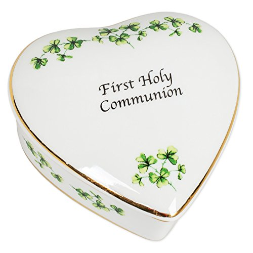 First Holy Communion Irish Shamrocks Porcelain Heart Shaped Keepsake Box