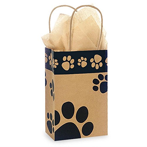 Paw Print Kraft Paper Shopping Bags - Rose Size - 5 1/2 x 3 1/4 x 8 3/8in. - 200 Pack by NW