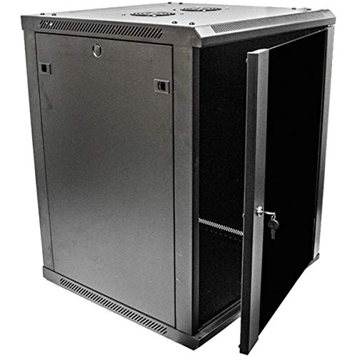NavePoint 15U Deluxe IT Wallmount Cabinet Enclosure 19-Inch Server Network Rack with Locking Glass Door 24-Inches Deep Black