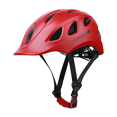 MOKFIRE Adult Bike Helmet Adjustable Lightweight Urban Casual Commuter Cycling Bicycle Helmet for Women and Men - Size (22.44-24.01 Inches) -Red