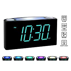 Rocam Digital Alarm Clock for Bedrooms - Large 6.5 LED Display with Dimmer, Snooze, 7 Color Night Light, Easy to Set, USB Chargers, Battery Backup, 12/24 Hour for Kids, Heavy Sleepers, Elderly (Blue)