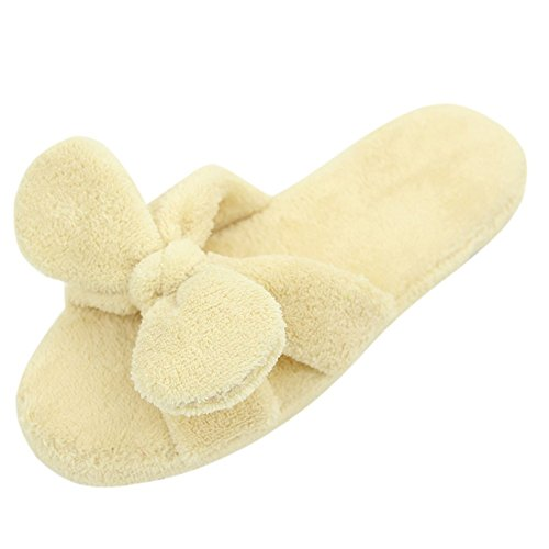 Home Slipper Womens Coral Fleece Warm Indoor House Fun Flip Flop Slippers Shoes Light Yellow2 TDjQZM