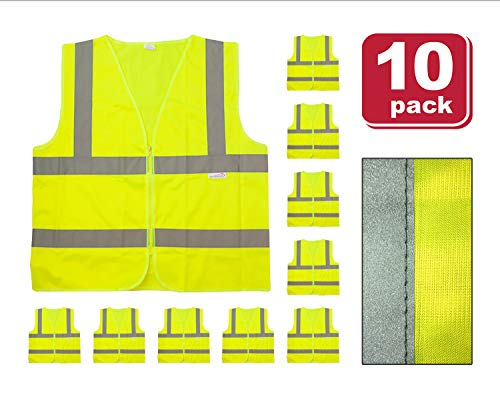 (SAFE HANDLER Reflective Safety Vest | Lightweight and Breathable, Fluorescent Fabric, Hook & Loop Closure, Mesh Fabric, X-Large, 10 PACK)