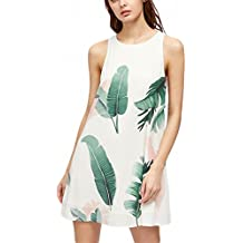 Foliage Print Buttoned Keyhole Back Tank Dress Women Summer Dress White Sleeveless Cut Out Back Tank Dress