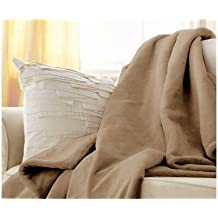 Sunbeam Microplush Throw Camelot Cuddler Heated Electric Warming Blanket with 3 Heat Settings Controller - Mushroom Beige