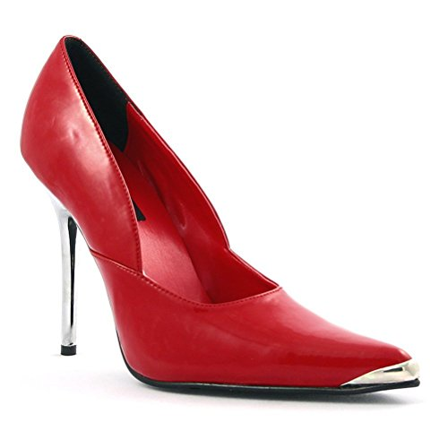 - Womens Red Pointed Toe Pumps 4 1/2 Inch Heel Metal Heel and Toe Pointed Toe Size: 6
