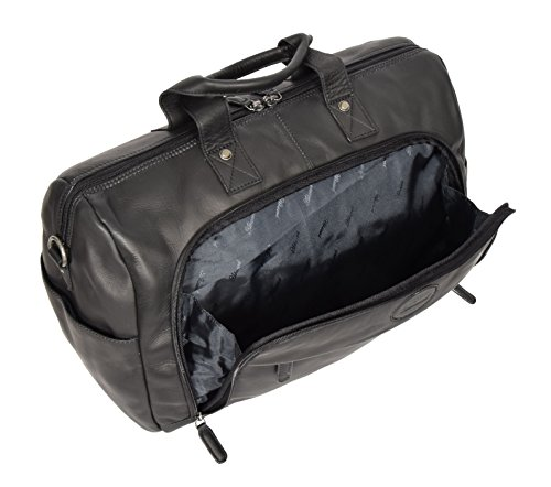 Black Real Leather Holdall Weekend Bag Business Travel Overnight Gym Bag Manila by A1 FASHION GOODS (Image #1)