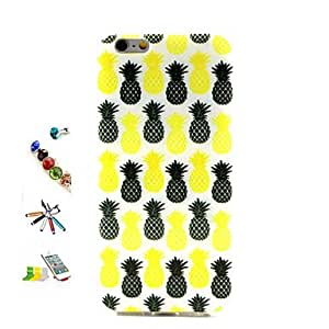 QJM Pineapple Pattern TPU Material with Stylus Anti-Dust Plug and Stand Portfolio for iPhone 6
