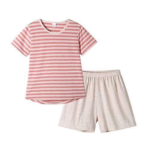(Hupohoi Big Girls Summer Cute Pajama Sets Striped Hearts Shape Printed Sleepwear)