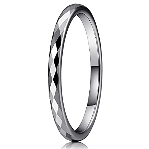 Three Keys Jewelry 2mm Multi-faceted White Tungsten Carbide Wedding Ring for Women Wedding Band Engagement Ring Silver Size (Tungsten White Gold Ring)