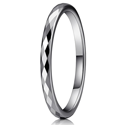 Three Keys Jewelry 2mm Womens White Tungsten Wedding Ring Multi-Faceted Wedding Band Engagement Ring