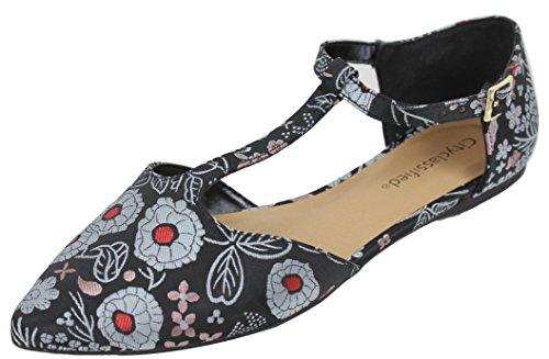 City Classified Womens Pointy Toe T Strap Flat Sandal Black Print 1ksZdY