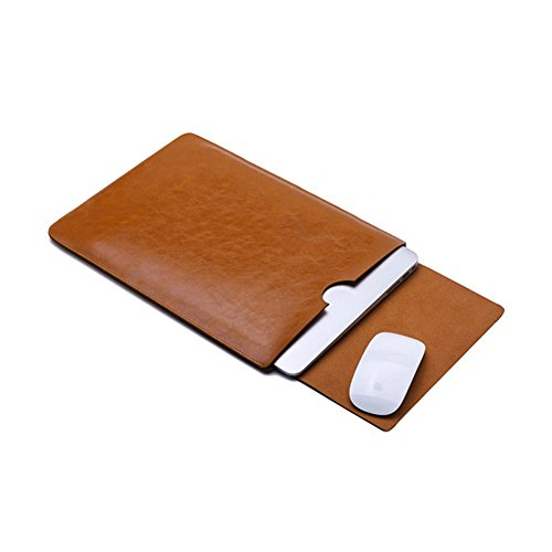 Yapshop Leather Laptop Sleeve for 14,15 Inch Apple Macbook for Computer, Notebook, Ultrabook and Tablet of similar size L.Brown