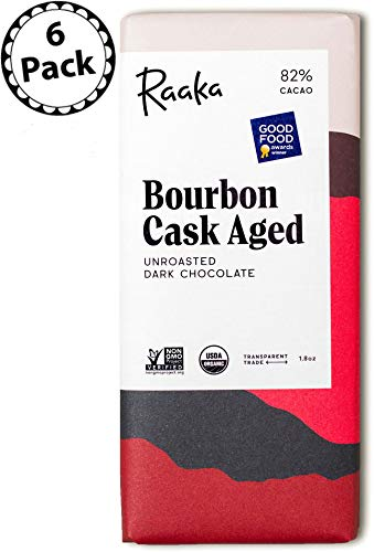 Raaka Chocolate Bourbon Cask Aged Dark Chocolate 82% Cacao (1.8oz Bar - 6 Pack), Organic, Non-GMO, Kosher Premium Craft Chocolate, Vegan, Gluten and Soy Free, Bittersweet, Bean-to-Bar Chocolate