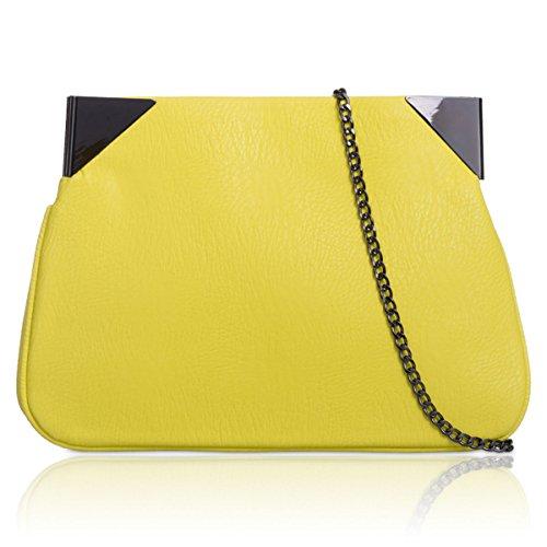 Xardi Londra grande designer donne Slouch frizione in pelle stile donne ragazze sera Prom borse Yellow