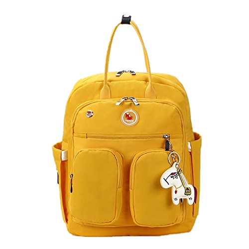 Baby Diaper Bag, LAGAFFE Multi-functional Nappy Bags Waterproof Travel Mom Backpack for Baby Care, Large Capacity Nursing Bag Top Handle Handbag (Yellow) by LAGAFFE