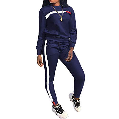 Top-Vigor Women 2 Pieces Sports Tracksuits Outfits Long Sleeve Top and Long Bodycon Pants Sweatsuits Set