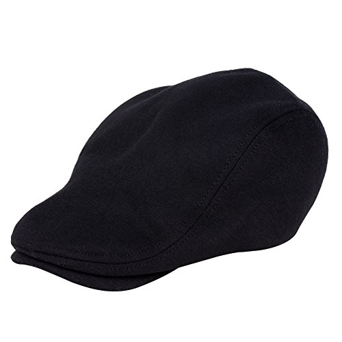 Vbiger Pure Wool Lvy Hunting Newsboy Cap Hat (Black)