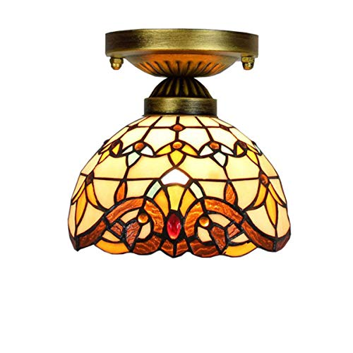 GDLight 8 Inch Ceiling Lights Tiffany Style Semi Flush Mount Ceiling Fixture for Living Room, Bedroom, Study, Hallway, E27, Max40