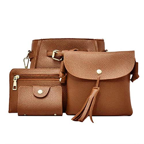 Purse Tote 4pcs Hobo Brown Handbag Women Satchel Composite Shoulder Set Bags Wekold wqz7Zgn